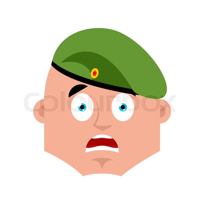 Russian soldier scared OMG emoj. Airborne troops Oh my God emotions. Paratrooper Military in Russia Frightened. Illustration for 23 February. Defender of Fatherland Day. Army holiday for Russian Federation, vector