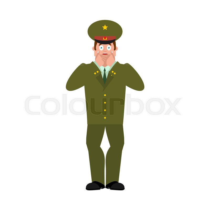 Russian Officer scared OMG. Soldier Oh my God emotion. Frightened Military in Russia. Illustration for 23 February. Defender of Fatherland Day. Army holiday for Russian Federation, vector
