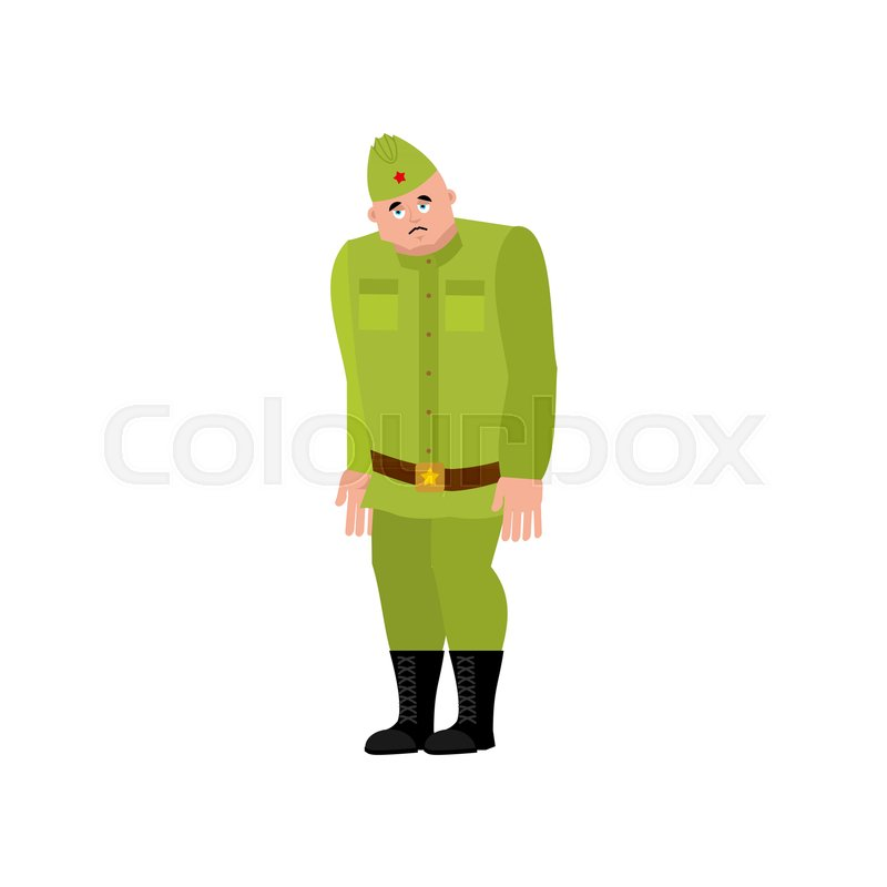 Soviet soldier sad. Retro Russian warrior sorrowful. dull Military in Russia. Illustration for 23 February. Defender of Fatherland Day.  sc 1 st  Colourbox & Soviet soldier sad. Retro Russian warrior sorrowful. dull Military ...