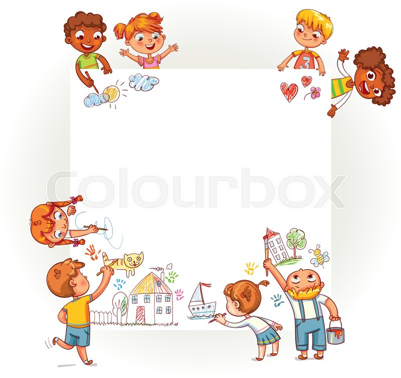 different children draw on large poster happy children holding