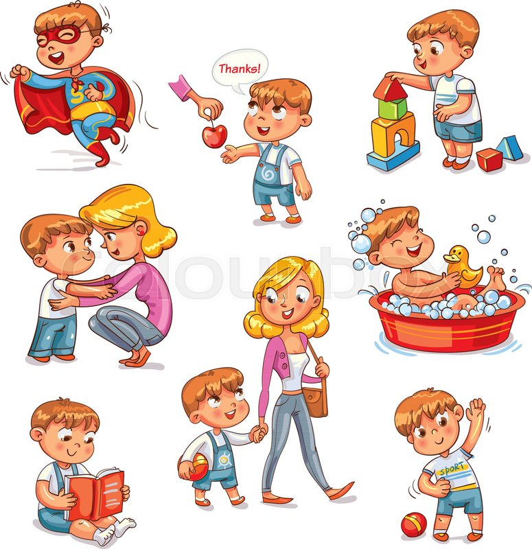 Cartoon Kid Daily Routine Activities Set Vector 30597063 on Preschool Daily Routine