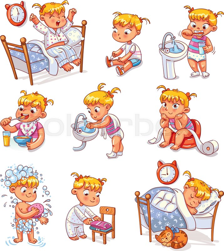 Cartoon Kid Daily Routine Activities Set Vector 30597095 on Activities Of Daily Living Worksheet