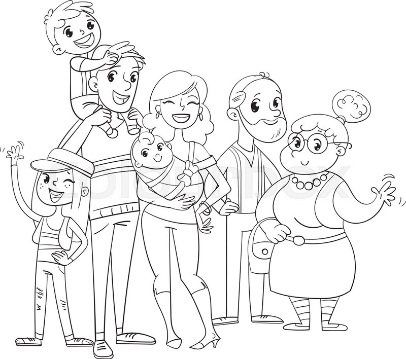 My big family posing together (father, mother, daughter, son ...