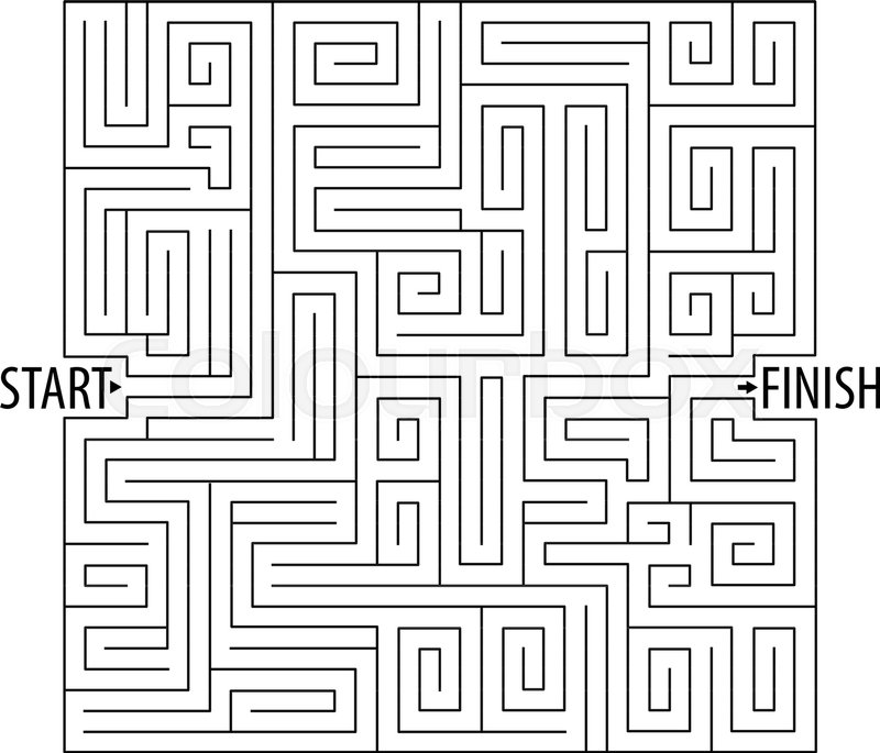 find the right way logical games maze game tangled lines vector