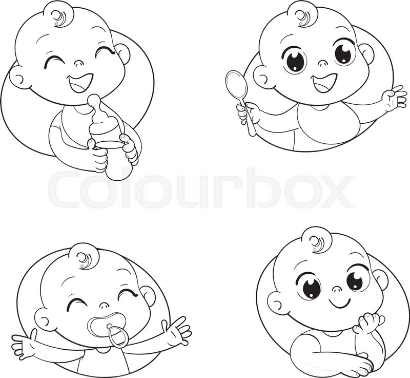 Happy smiling newborn boy or girl. Set with cute little baby in ...