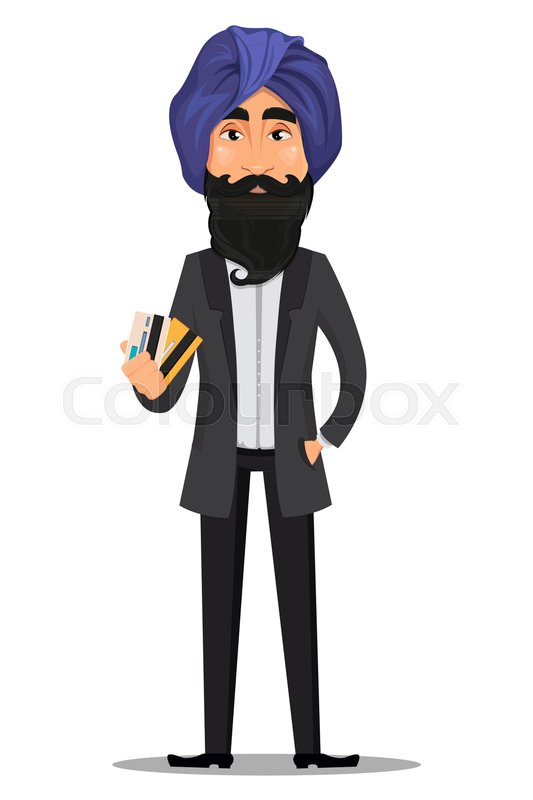 Indian business man cartoon character young handsome businessman in indian business man cartoon character young handsome businessman in business suit and turban holding credit cards stock vector stock vector colourbox reheart Images