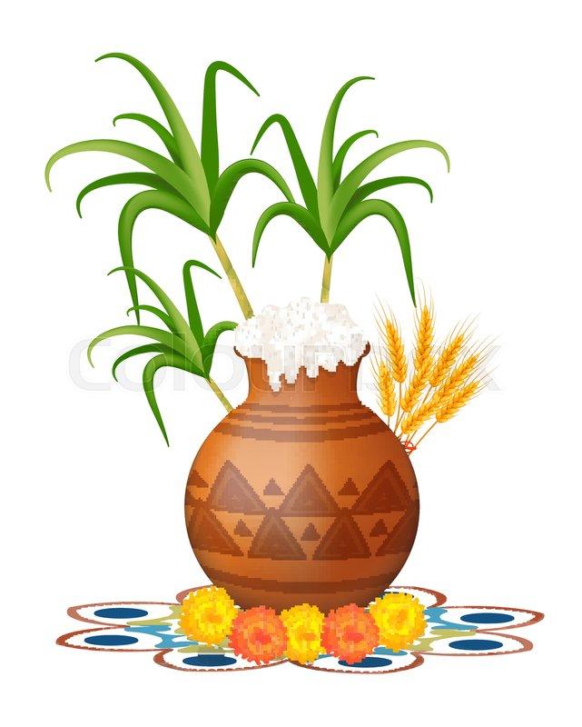 Happy pongal greeting card holiday india festival of harvesting happy pongal greeting card holiday india festival of harvesting celebrations with rice in traditional mud pot sugarcane marigold or genda or zendu m4hsunfo