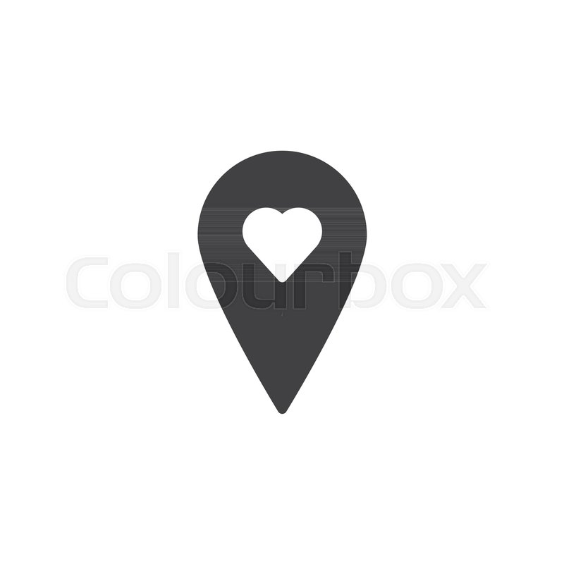 Location Pin With Love Icon Vector Filled Flat Sign Solid