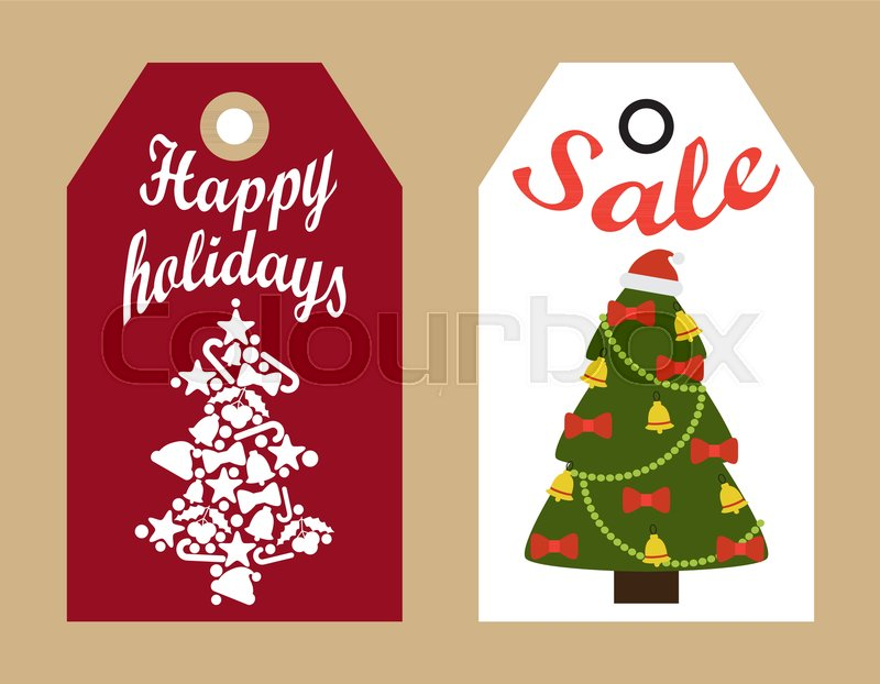 sale happy holidays decorative tags with new year christmas trees hanging badges shopping promotional labels announcements about discounts vector stock - Decorative Christmas Labels