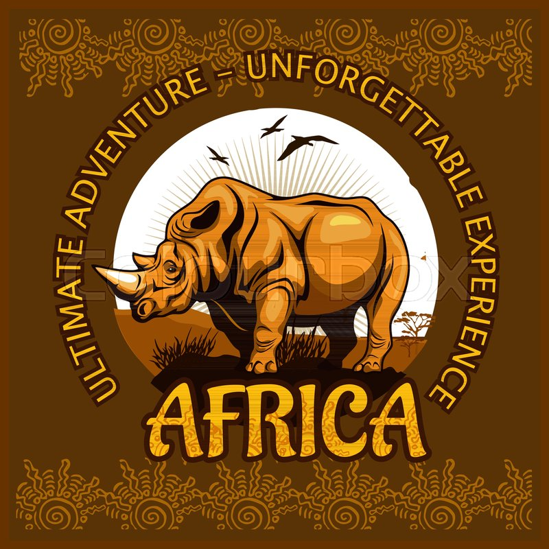 African landscape and rhino - vector illustration emblem and logo, vector