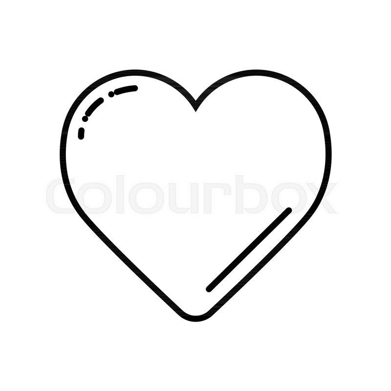 Black Heart On White Vector Icon Love Symbol Valentine Day Concept