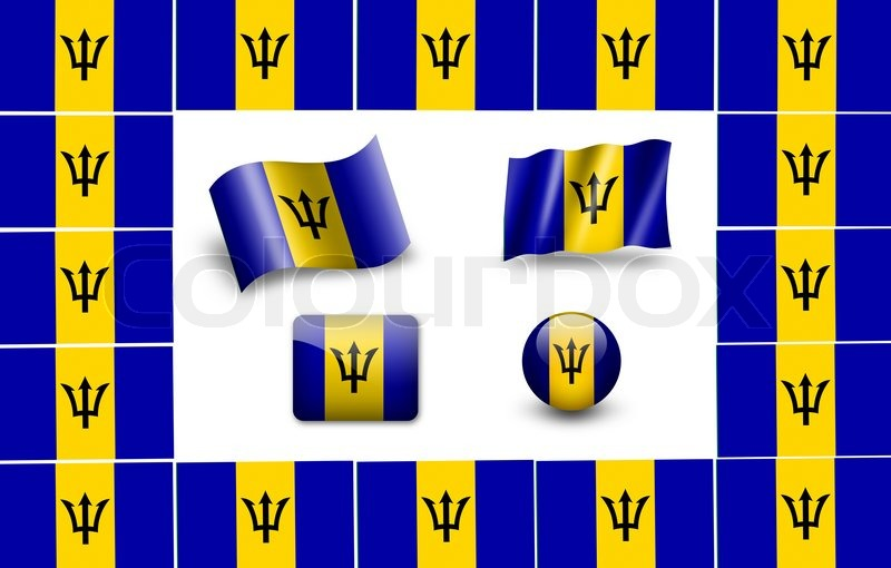 Barbados Flag Icon Set Stock Photo