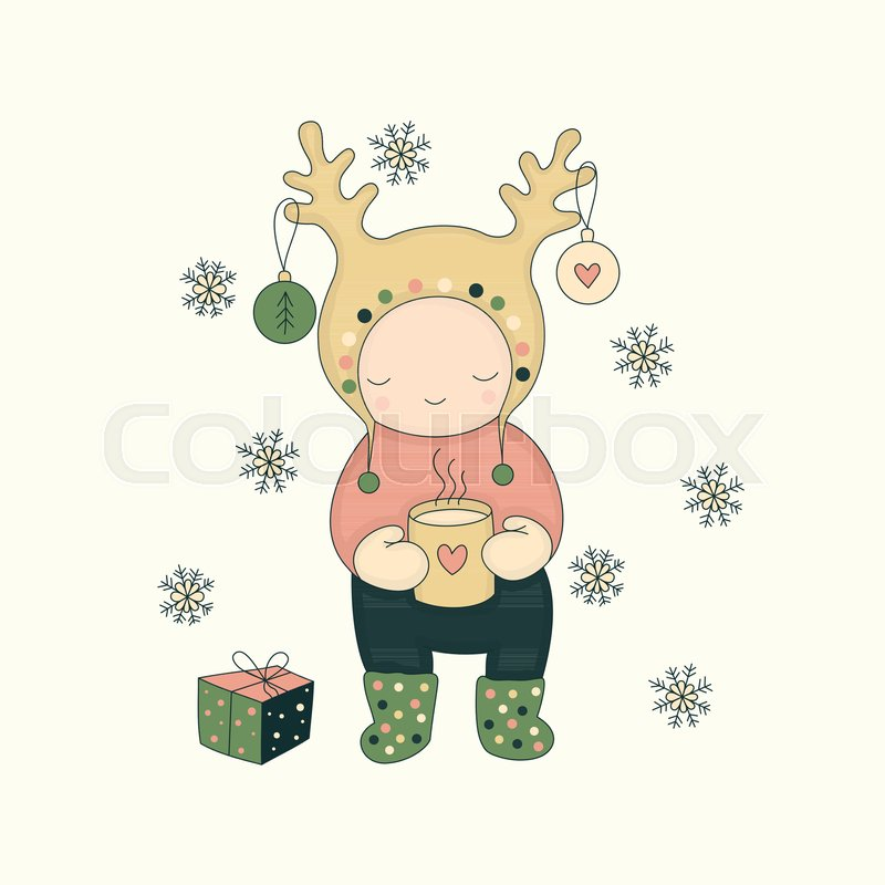 Vector illustration. Cute character with tea and gift, and ...