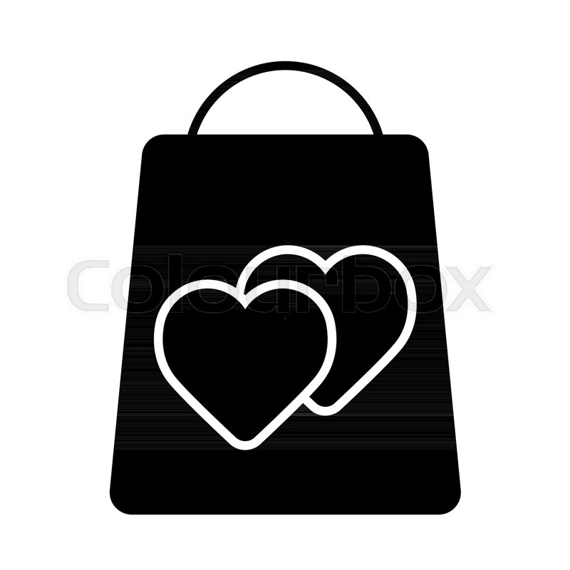 Shopping Bag Decorated With Heart Symbol Love Shopping Vector Icon