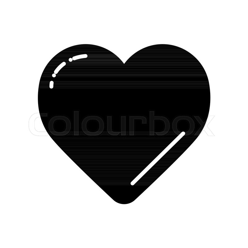 Black Heart On White Vector Icon Love Symbol Valentine Day Concept
