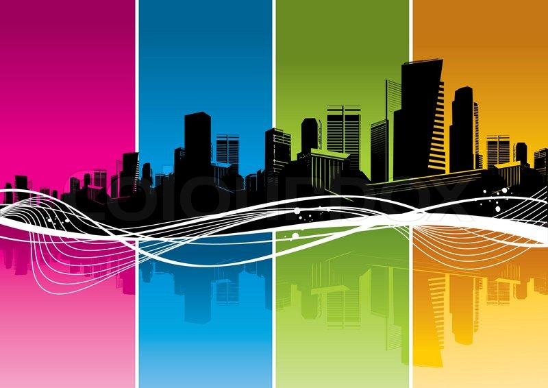 color online editor : Vector Silhouette Of Cityscape Color Strips Waves Vector