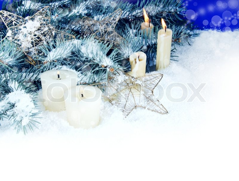Christmas border with burning candles space for text
