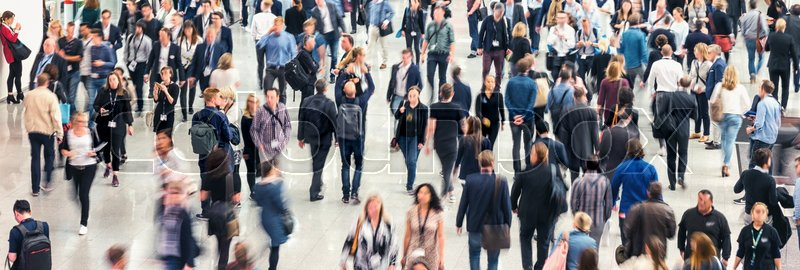 Business people crowd at a tradeshow, banner size. ideal for websites and magazines layouts, stock photo