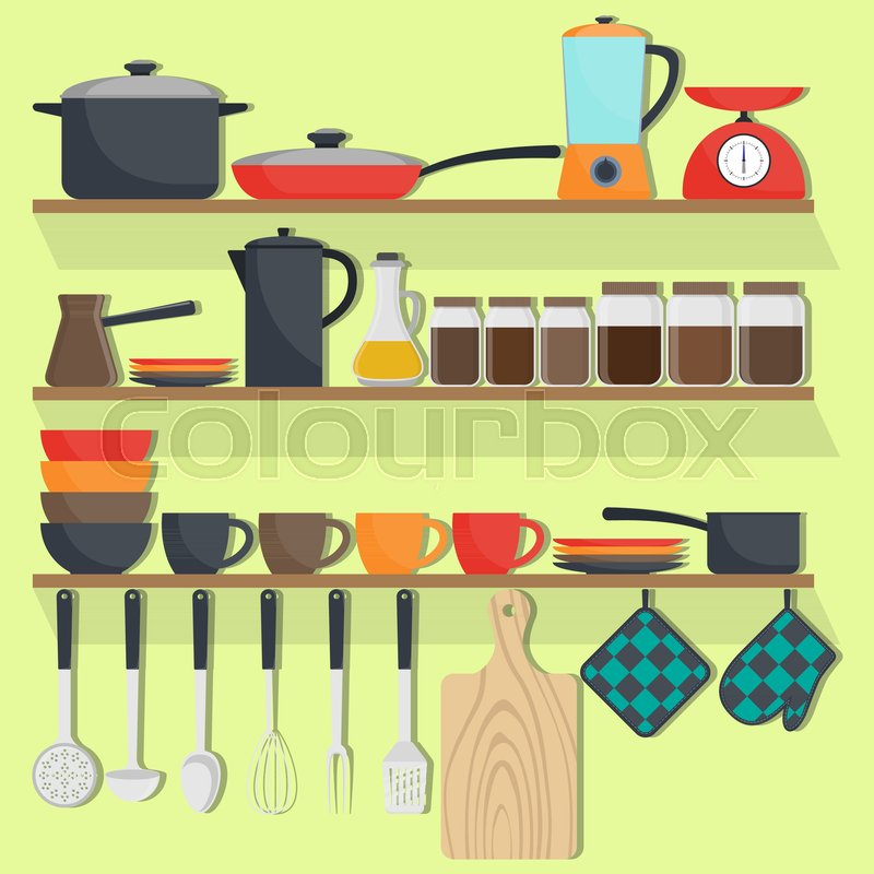 Kitchen Utensils And Crockery On The Stock Vector Colourbox