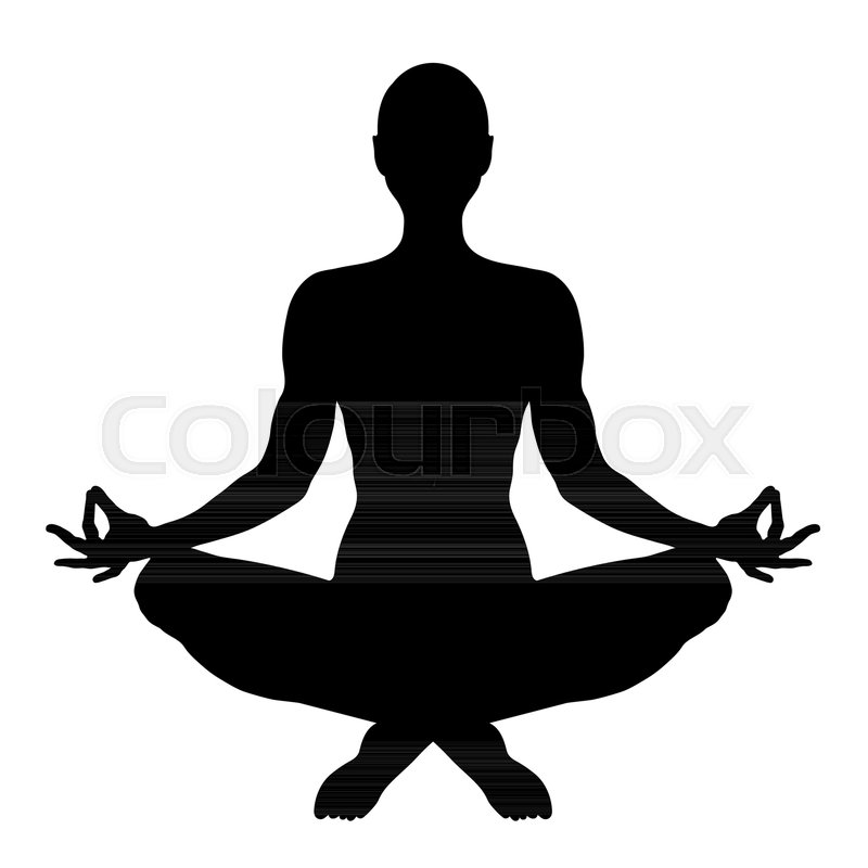 Yoga Figure Of A Man Sitting In Lotus Pose Vector Silhouette Meditation Relaxation Human Outline Portrait Black And White Contour Drawing