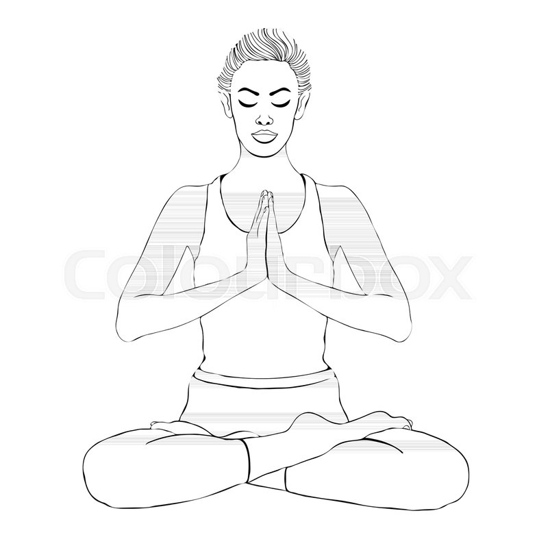 Yoga Pose Woman Meditating In A Lotus Vector Coloring Drawing Portrait Meditation Relaxation Girl Sitting Cross Legged Outline Black And White