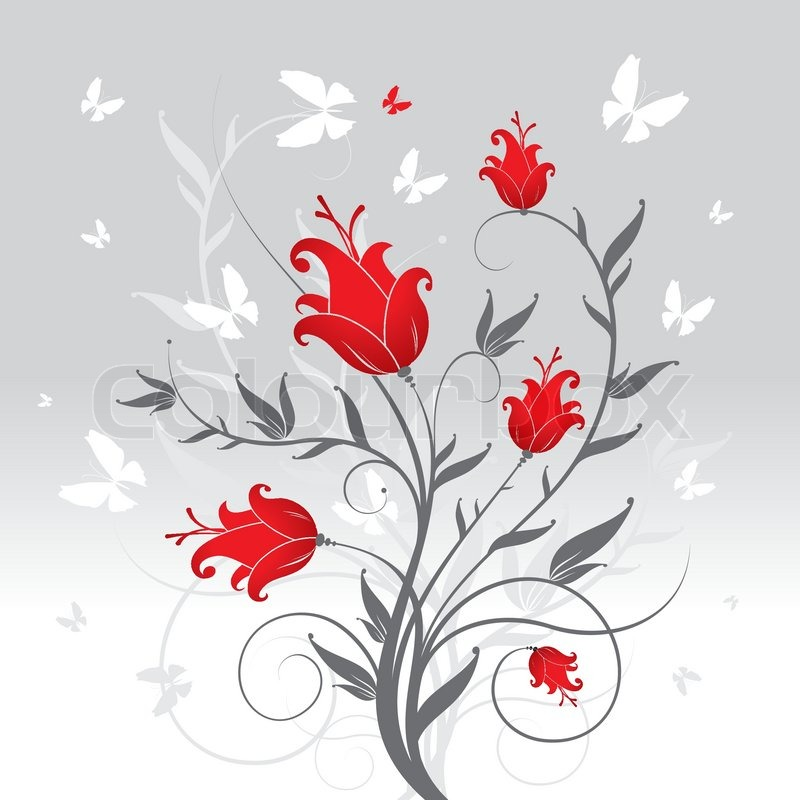 blumen und schmetterlinge floral vector illustration. Black Bedroom Furniture Sets. Home Design Ideas