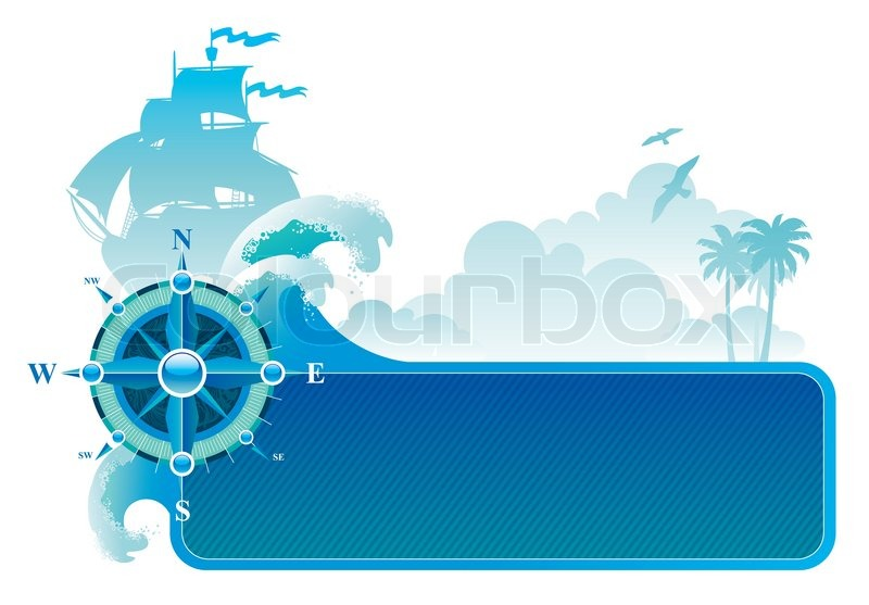 Vector adventures & travel frame with compass rose | Stock Vector ...