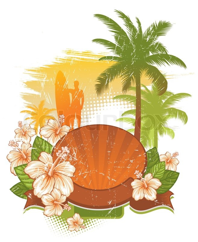 Flower Picture Frame on Stock Vector Of  Vector Frame   Banner With Tropical Flowers   Palms