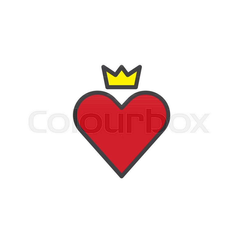 Red Heart With Crown Filled Outline Icon Line Vector Sign Linear