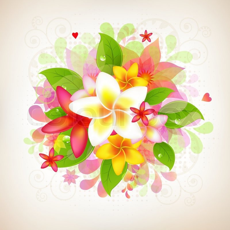 abstract floral background mit frangipani auf wei en. Black Bedroom Furniture Sets. Home Design Ideas