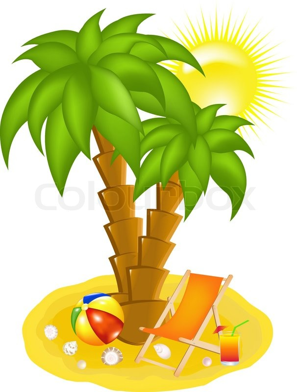 Palm Tree On Beach Chaise Lounge And Cocktail Vector