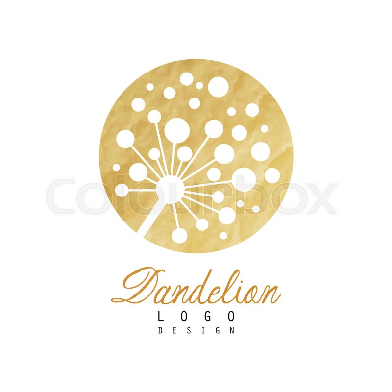 Abstract Dandelion Logo On Rounded Stock Vector Colourbox