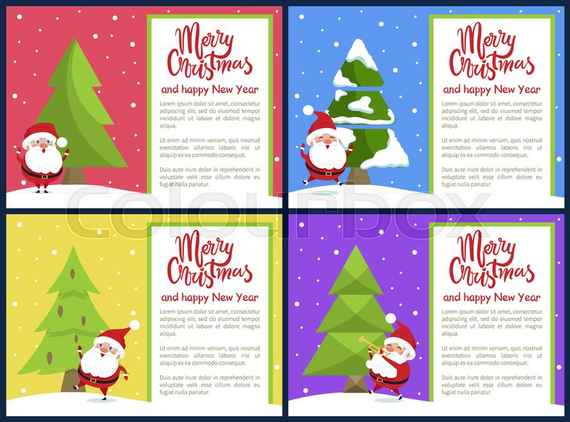 Merry christmas and happy new year greeting cards santa singing merry christmas and happy new year greeting cards santa singing songs having fun playing on trumpet near xmas tree on snowy backdrop vector banners m4hsunfo