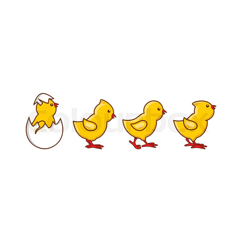 Vector flat cute baby chickens walking in line, yellow small chick ...