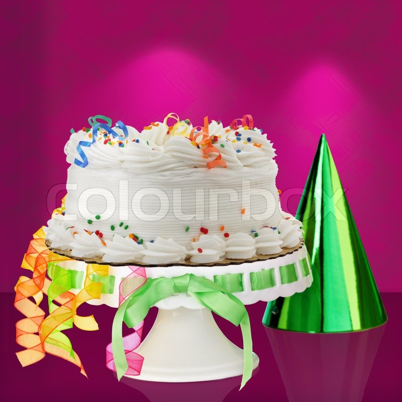 Delicious White Vanilla Birthday Cake With Red Blue Green Yellow