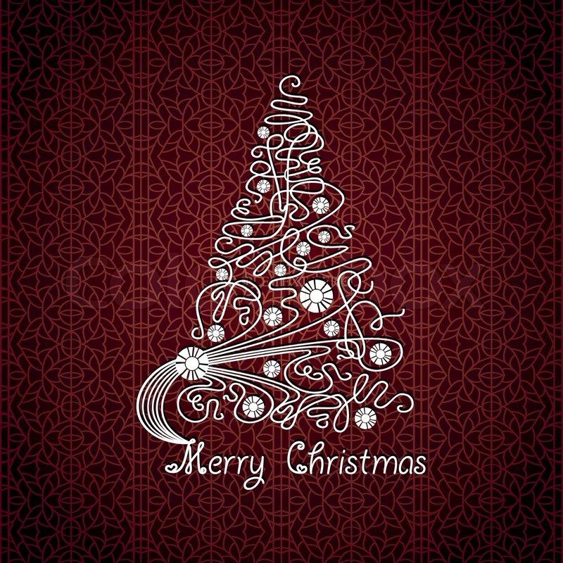 Karte Frohe Weihnachten.Frohe Weihnachten Vektor Karte Baum Stock Vektor Colourbox