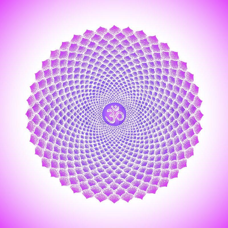 Vector Seven Primary Crown Sahasrara Chakra Sanskrit Seed Mantra Om