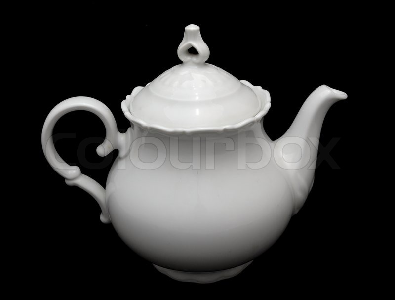 White Porcelain Teapot Placed On The Black Background