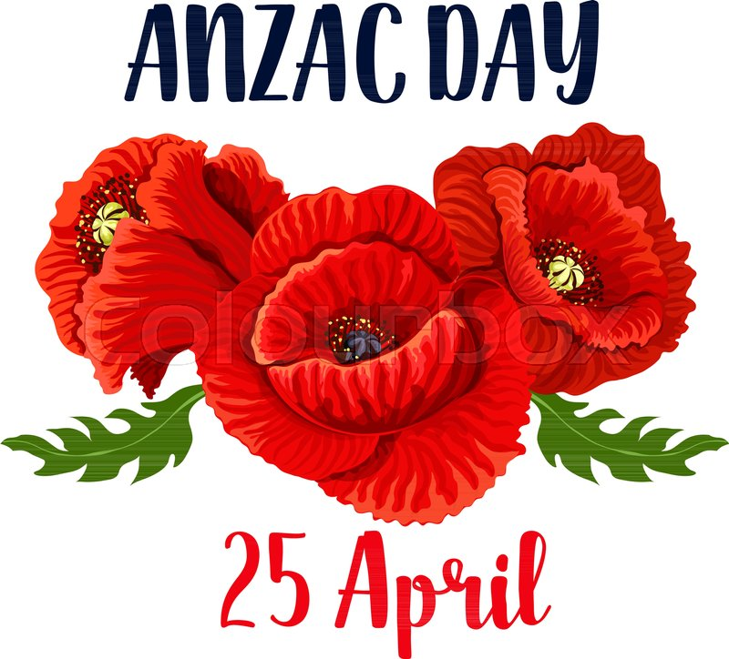 Anzac Day Red Poppy Flowers Icon Design For 25 April Australian And