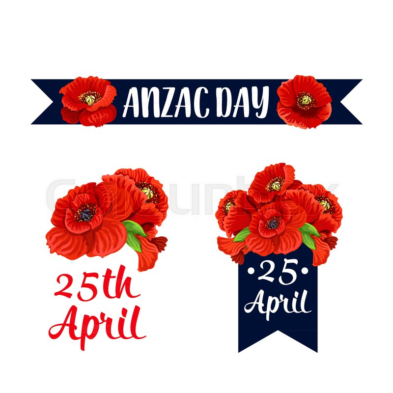 Anzac Day Red Poppy Icons And 25 April Australian And New Zealand