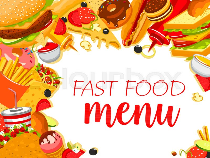 fast food meals and snacks menu design template for fastfood