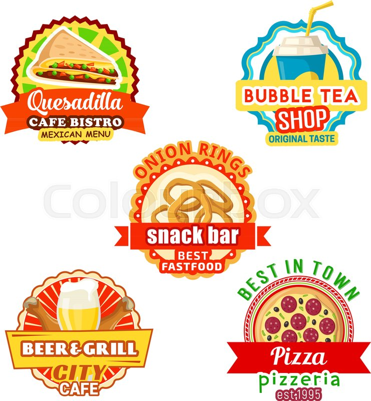 fast food meals and snacks bar or fastfood bistro cafe icons