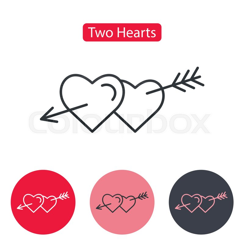 Two Hearts Pierced With Arrow Symbol Of Love Passion Intimacy And