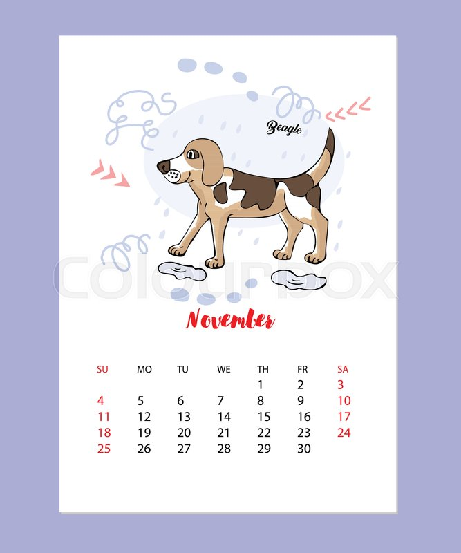 november calendar 2018 with funny beagle dog sketch hand drawn animals vector illustration stock vector colourbox