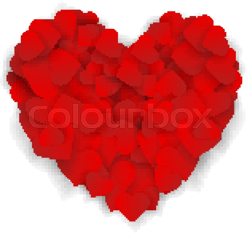 Big Red Heart Made Of Small Hearts Isolated On White Background