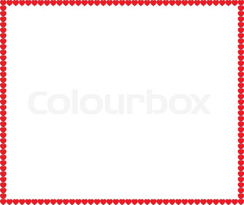 Vector full-frame border with red cartoon hearts and space for text ...