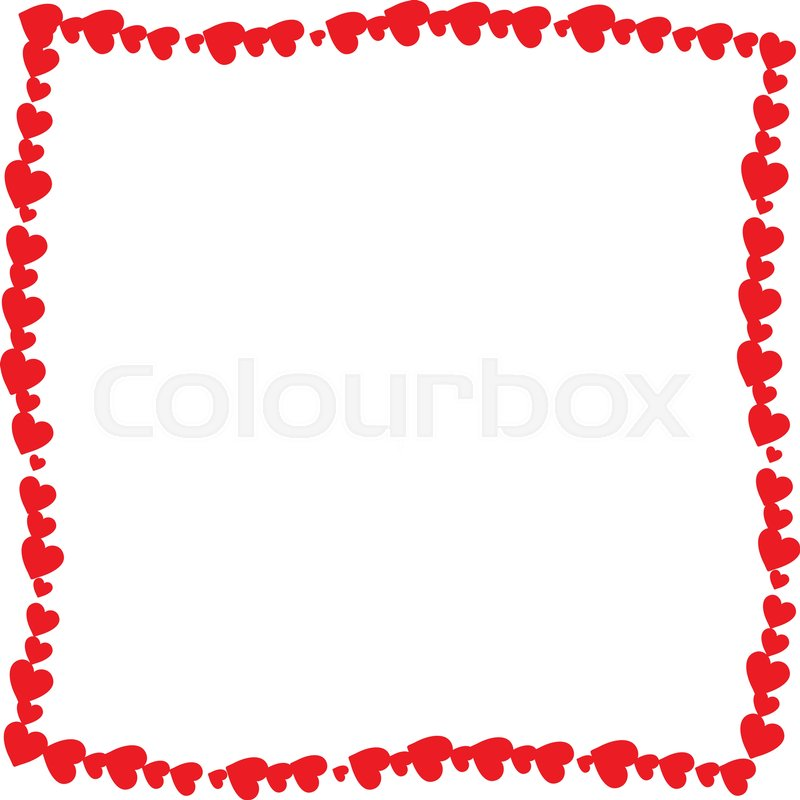Love twisted frame made of cartoon red different sized hearts ...