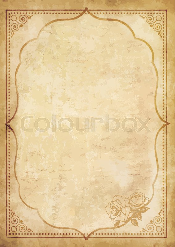 old grungy vintage paper blank with curly oriental frame