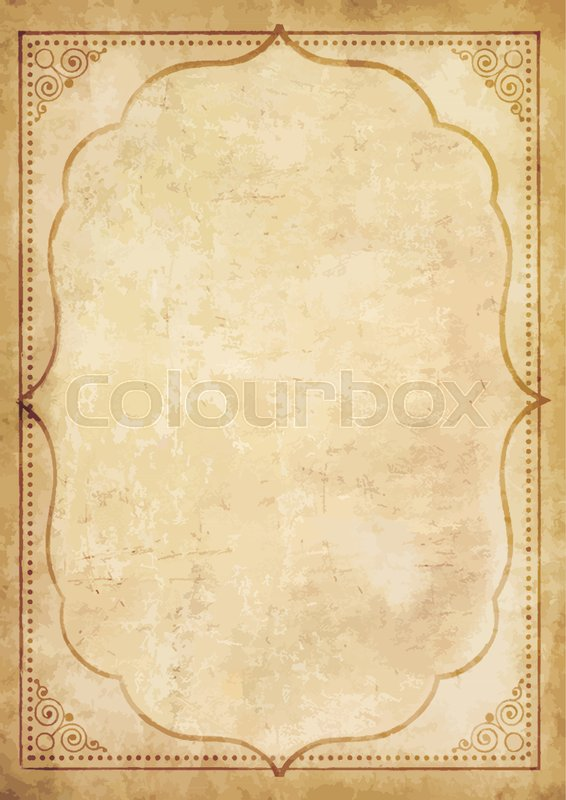 Old Grungy Vintage Paper Blank With Curly Oriental Frame Ornament Worn Papyrus Template For Mail Aged Letter Space Text Or Image