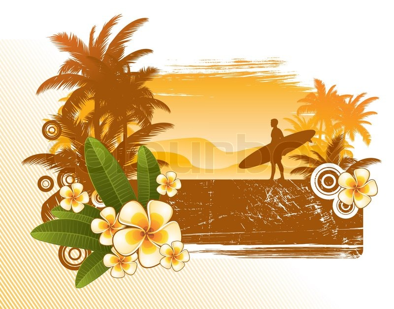 Frangipani Flowers And Surfer Silhouette Vector